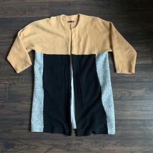 Zara color block long cardigan